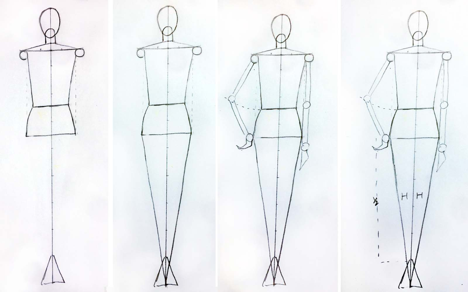 Learn how to draw female back pose for fashion design step 3
