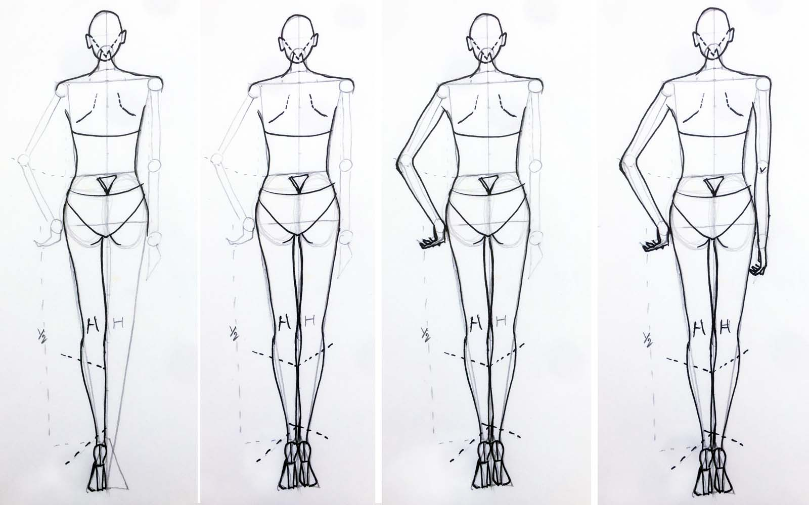Learn how to draw female back pose Step 6