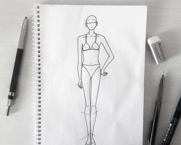Learn how to draw female frontal pose for fashion