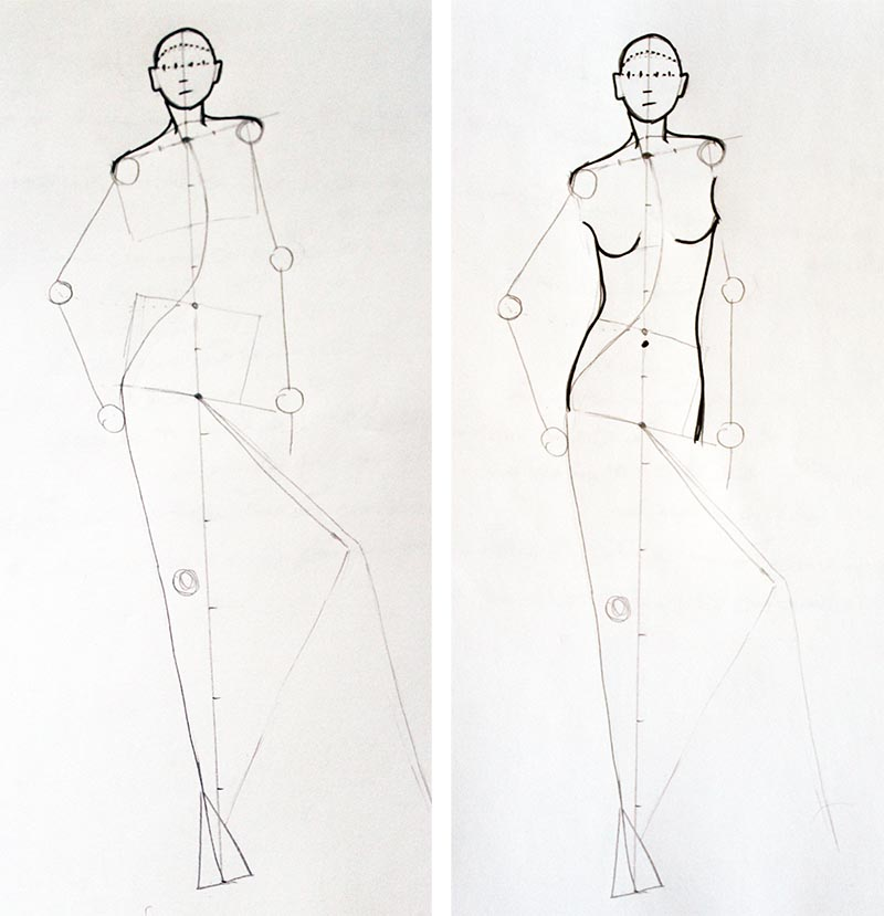 How to draw Relax standing pose in fashion drawing Step 4