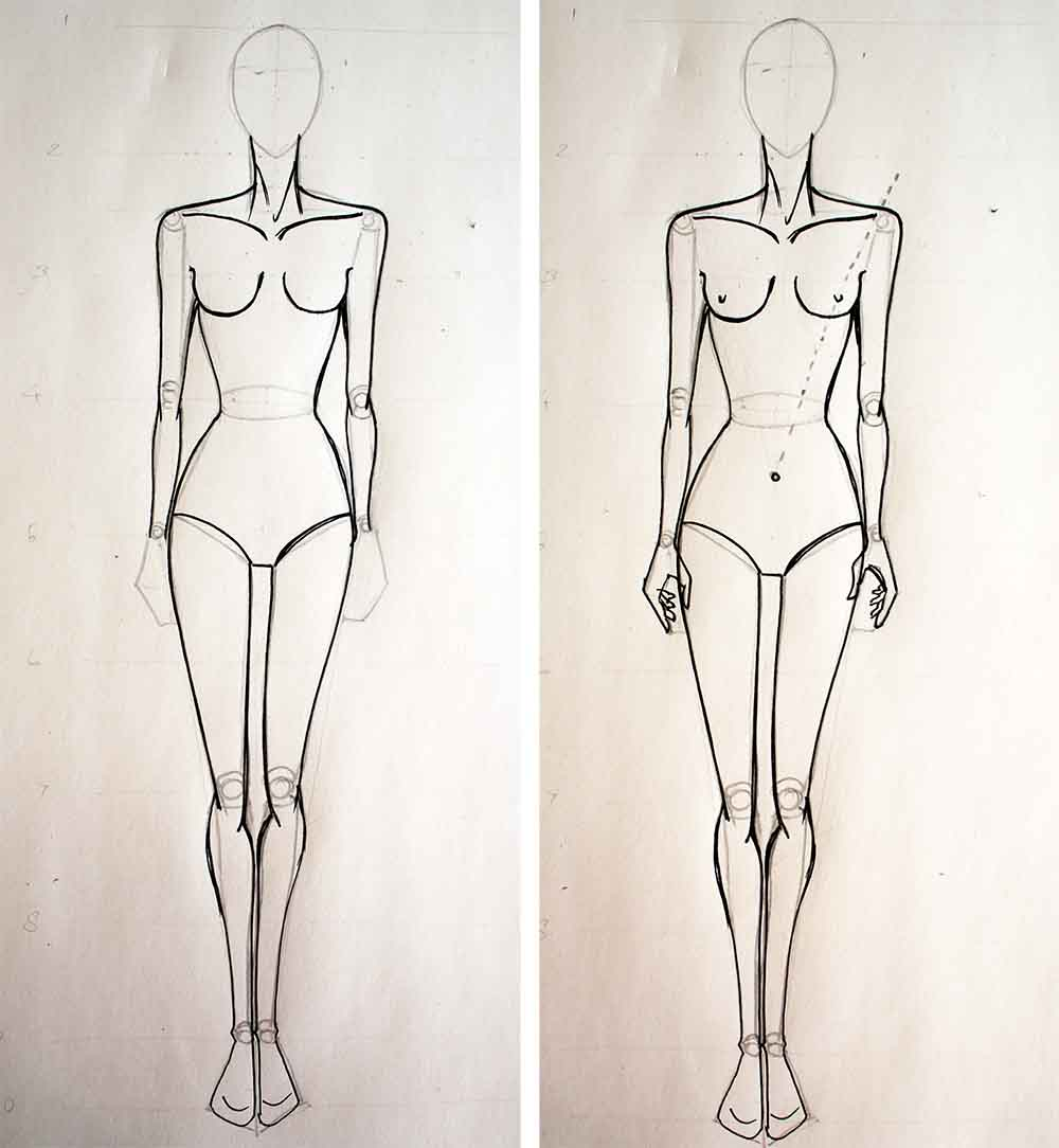 Fashion design Tutorial - Drawing female body muscles