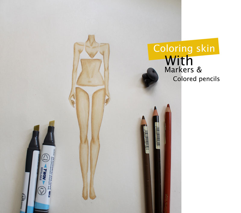 A step by step tutorial on how to color skin with markers and colored pencils.