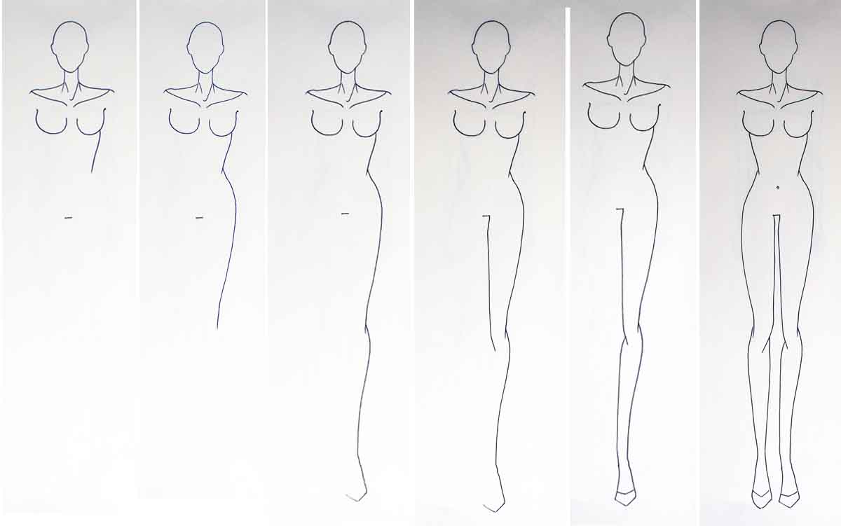 Fashion figure drawing without guidelines - fashion design for beginners - step 2