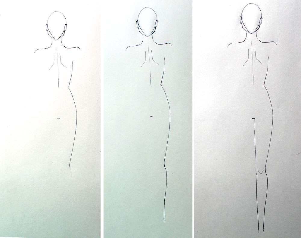 Drawing leg in back view - Fashion design tutorial for beginners