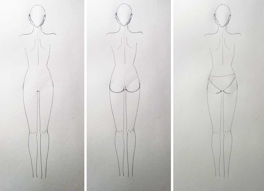 Drawing booty of fashion figure - back view - fashion design tutorial