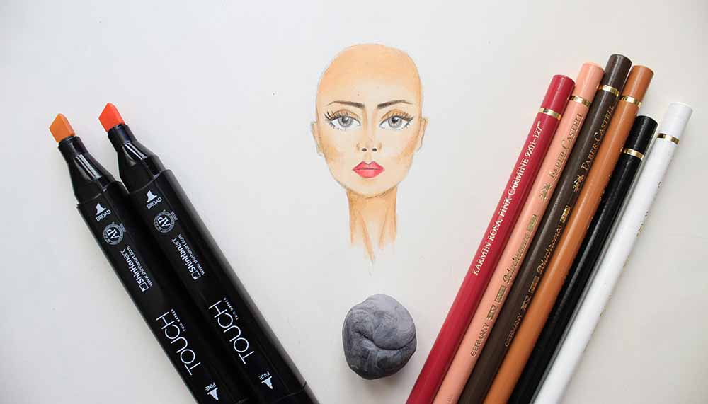 Learn how to color faces with markers - Coloring face with markers and colored pencil