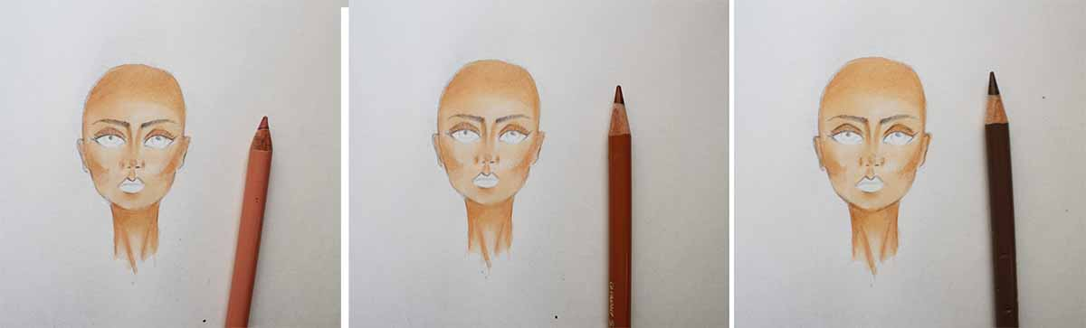 Coloring the face - with colored pencils