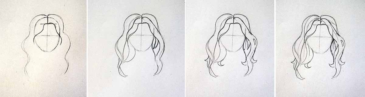Step by step tutorial for drawing hair
