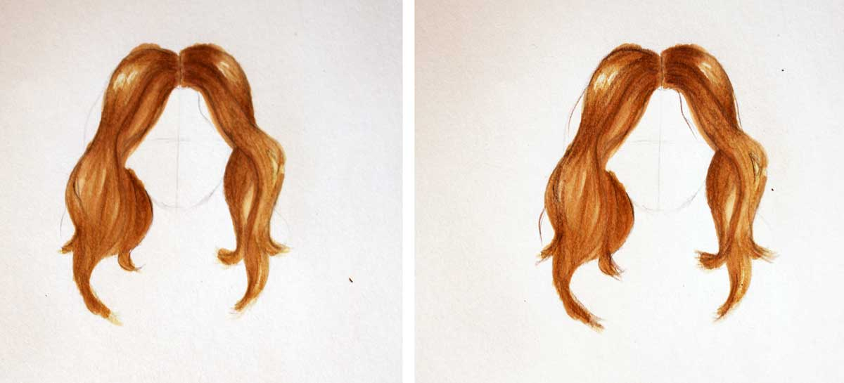 Drawing hair - applying highlights and shadows